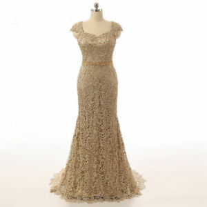 Gold-Mermaid-Mother-of-the-Bride-Dresses-Formal-Wedding-Evening-Gown-Lace-Custom