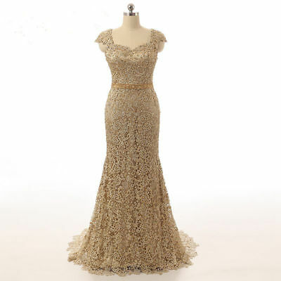 Gold Mermaid Mother of the Bride Dresses Formal Wedding Evening Gown Lace Custom | eBay
