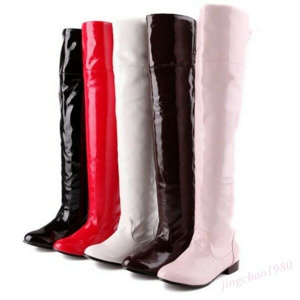 US 4-11 Womens Patent Leather Thigh Tall Cosplay Dance shoes Over the Knee Boot