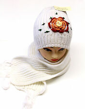 Lady Womens Winter Knit Scarf & Hat Beanie Flower Set Lined Warm Scarves New