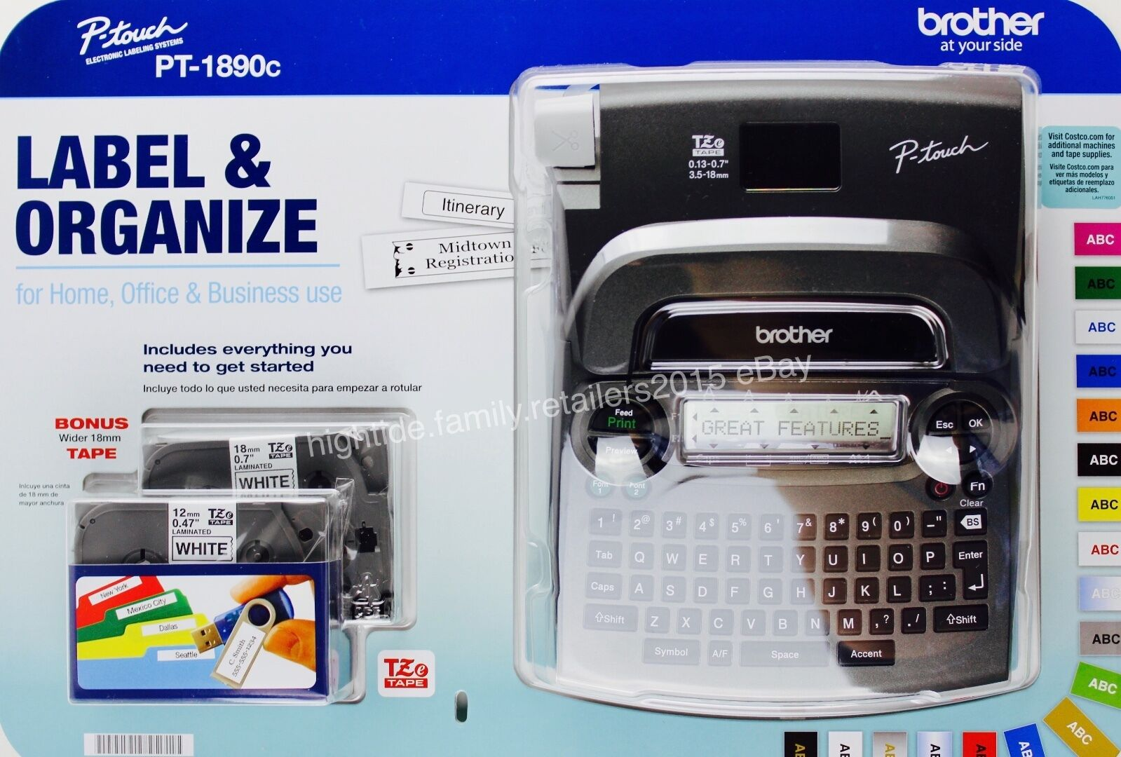 Bredher P-touch PT-1890c Labeling Maker System Bonus 6  AA  Batteries & 2 Tapes