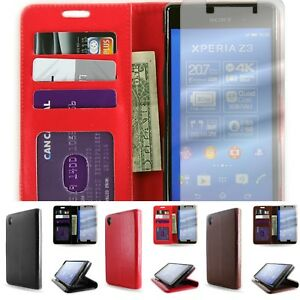 Synthetic Leather Wallet Flip Pouch Phone Cover Case for Sony Xperia