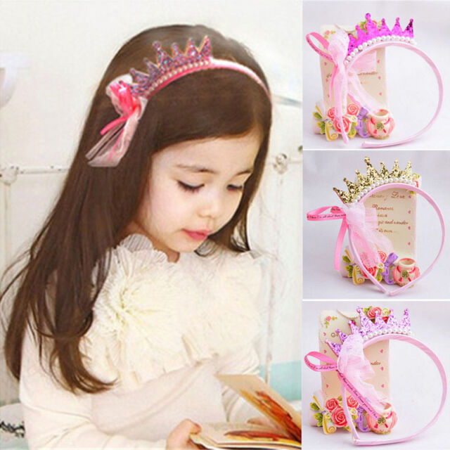 New Girls Pearls Resin Diamond Lace Bow Ribbon Crown Princess Hair Accessories