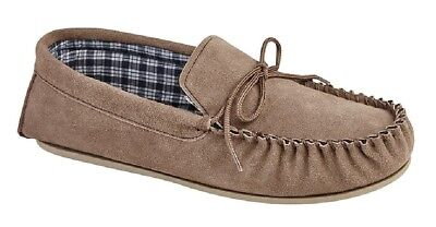 Mokkers BRUCE Suede Leather Moccasin Classic Full Slippers Dk.Brown Real Suede