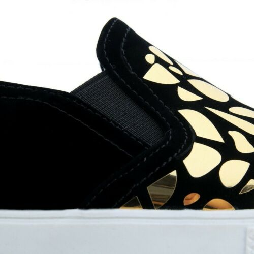 Women PU Leather Hollow Out Gold Black White US Size4-11 Flat Loafers Hot Shoes