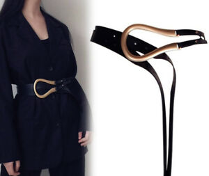 Details about Fashion Western U Style Horseshoe Double Gold Buckle Black Retro Belt Womens UK