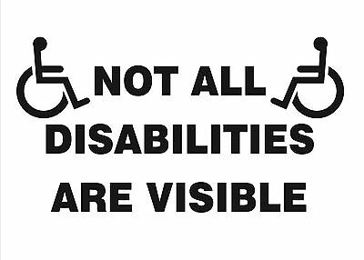 Disability Sticker Not All Disabilities Are Visible Vinyl Decals x 2