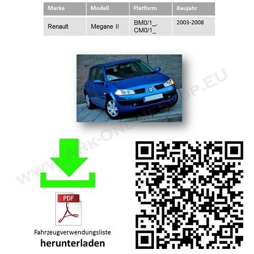 03-08 Anhängevorrichtung komplett AHK /& ES13 Renault Megane II Schrägheck Bj