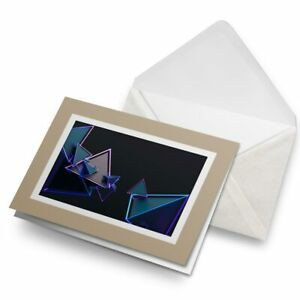 Greetings-Card-Biege-3D-Triangle-Abstract-Shape-2782
