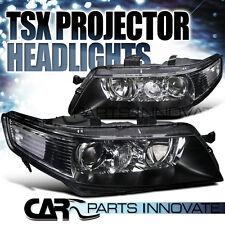 Acura 04-05 TSX 4Dr Sedan JDM Black Projector Headlights Lamp Pair