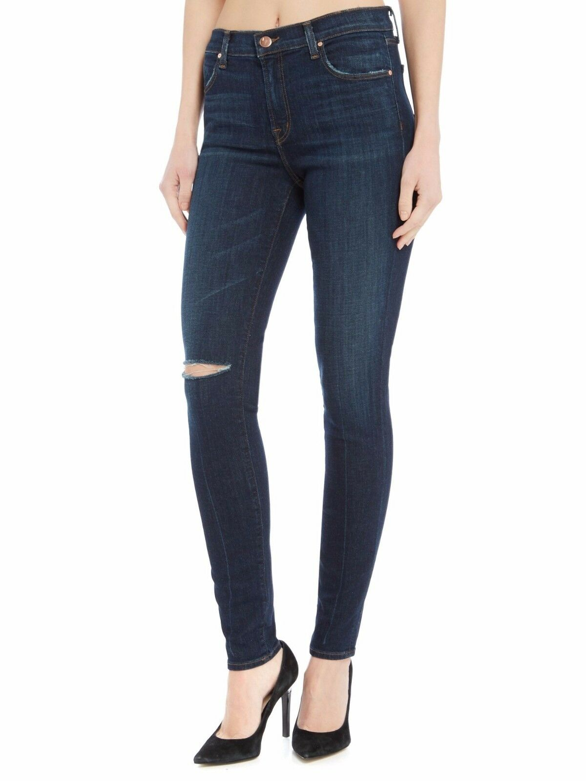 J Brand para mujeres Celebridad Disfraz destruyera Rip  Hasta la Rodilla Medio Pantalones Vaqueros Flacos  buscando agente de ventas