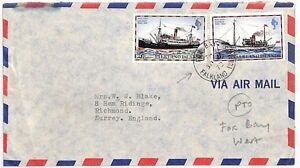 SS128 1970 FALKLANDS Fox Bay to GB Surrey Richmond Commercial Airmail