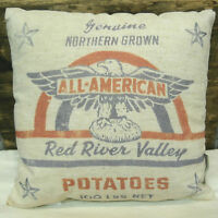 Primitives By Kathy  All American Potatoes  Pillow Feedsack Looking 12 X 12
