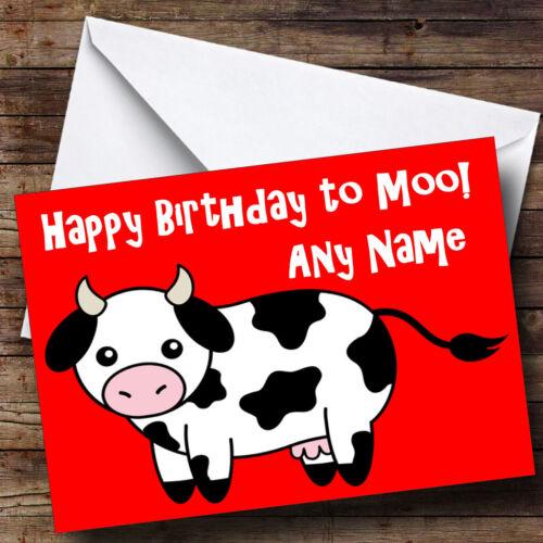 Cow Cartoon Funny Personalised Birthday Greetings Card