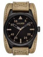 S.oliver Herrenuhr Uhr Edelstahl Schwarz Braun Beige So-2879-lq