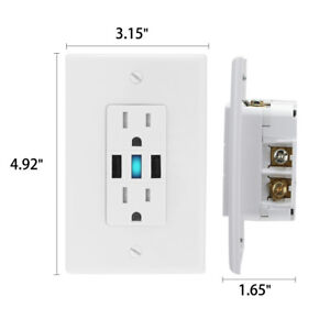2-5-USB-Port-4-2-Amp-Wall-Outlet-Socket-AC-Power-Receptacle-Outlet-w-Wall-Plate