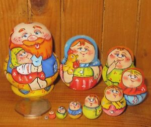 Nesting-Russian-Dolls-Matryoshka-tiny-family-10-Dad-amp-GIRL-Latisheva-signed