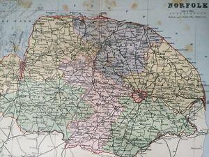 Map Of Norfolk England Uk.Details About 1895 Norfolk Original Antique Map Uk England Vintage Old County
