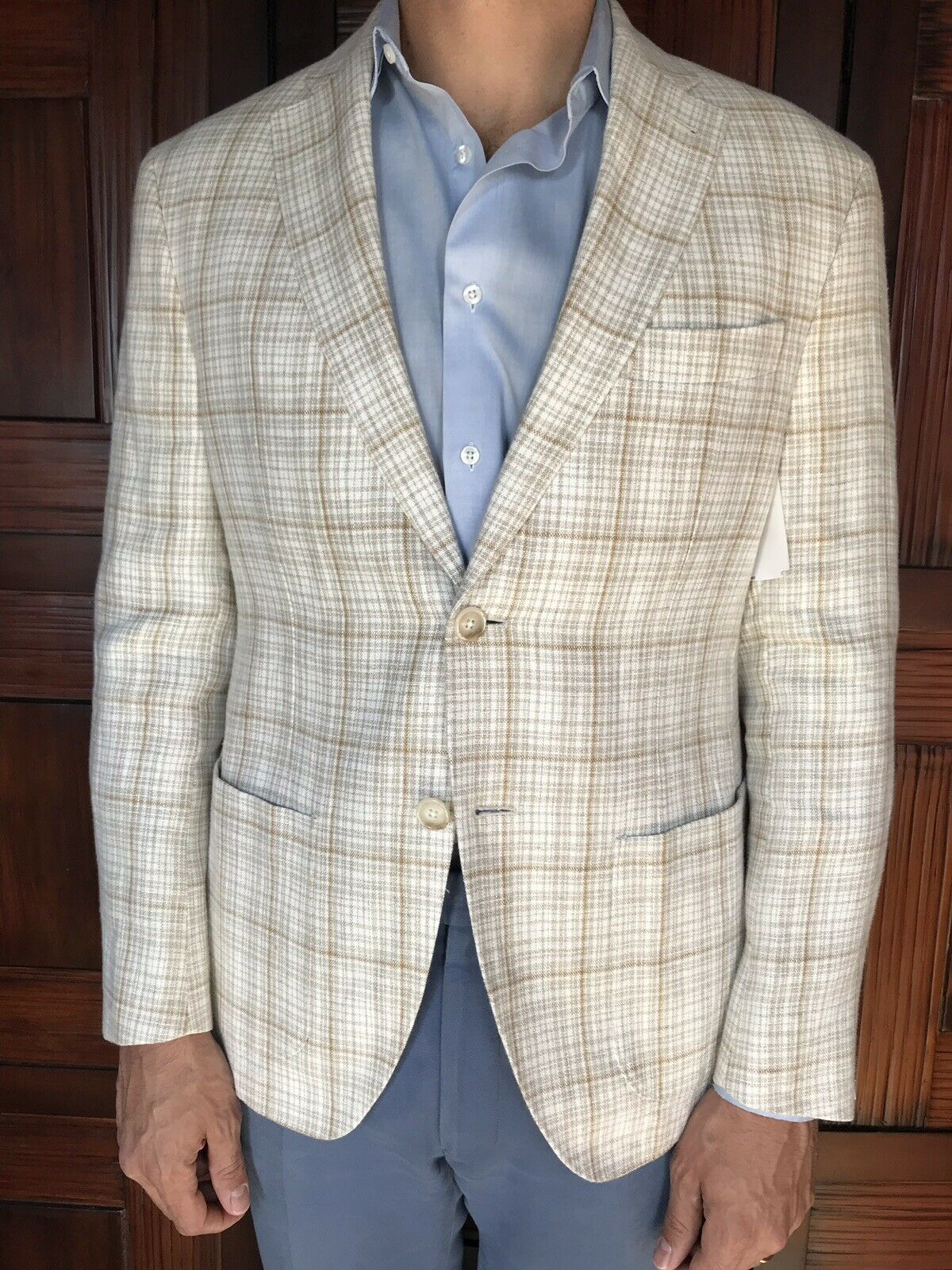 JKT Men's Plaid Linen Blazer Size 40S New