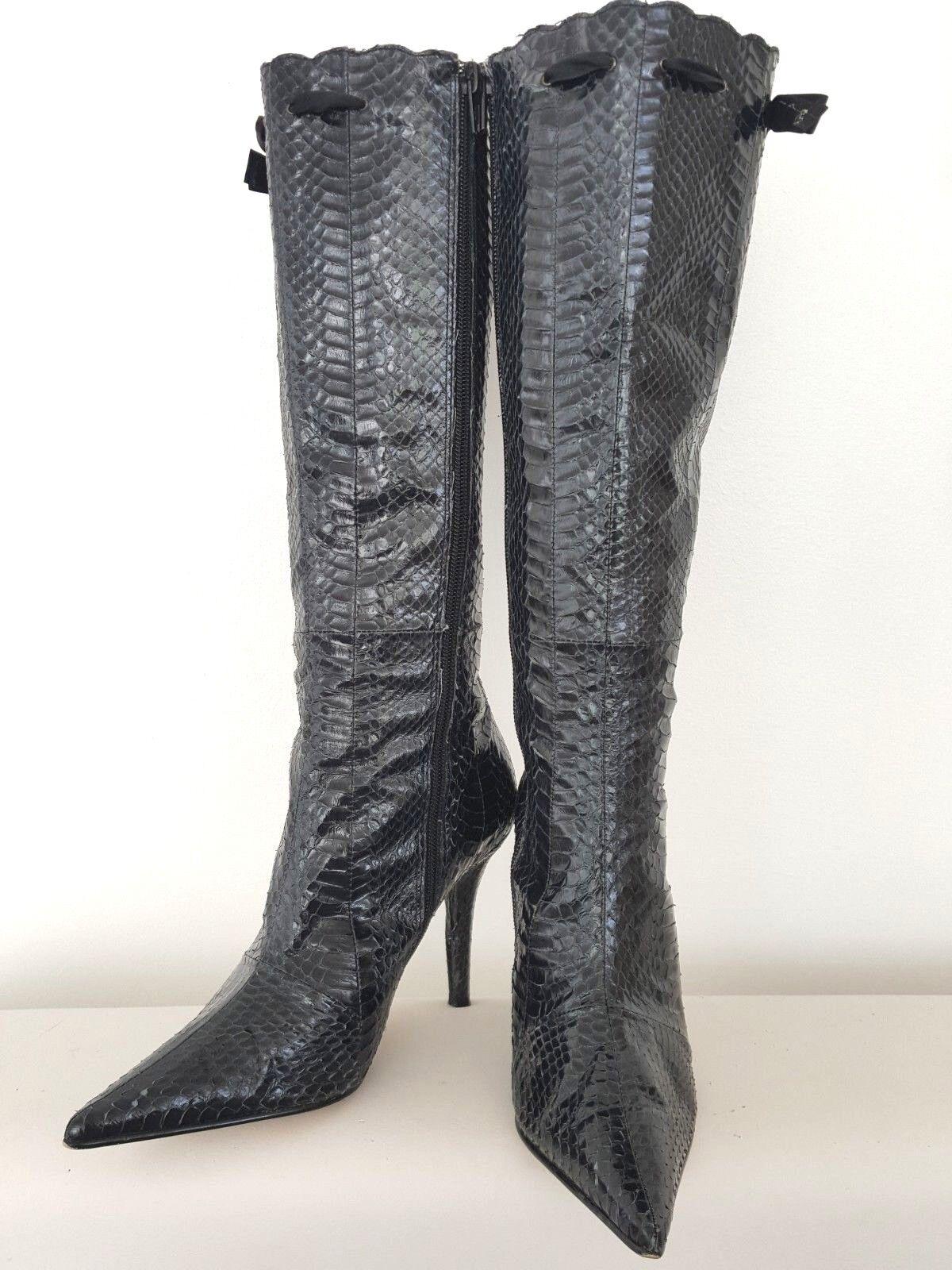 French Connection piel de serpiente cuero forrados de las Señoras botas Negras