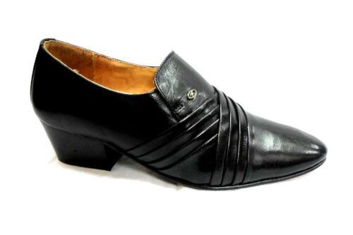Slip Lucini Hommes Croix Noir Sur Cubains Formal Talons Chaussures En Cuir Mariage De Aqr0fxA15w