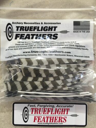 Trueflight 5 inch Feathers Left Wing Shield 100 pack Traditional Barred