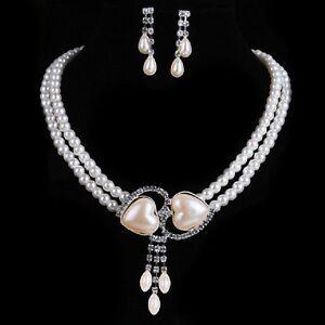 Set Collier e Orecchini Perle Collana di Strass Cuore
