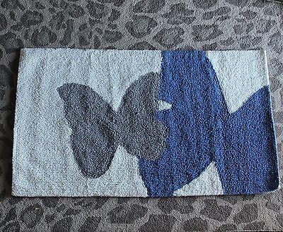West Elm Butterfly Mariposa  Bath Mat Blue Gray white