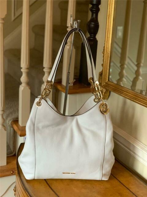 Michael Kors Large Charm Shoulder Tote Optic White Leather $398 NWT