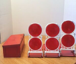 ANTHES FP M kit vintage roadside emergency reflector set w original metal box