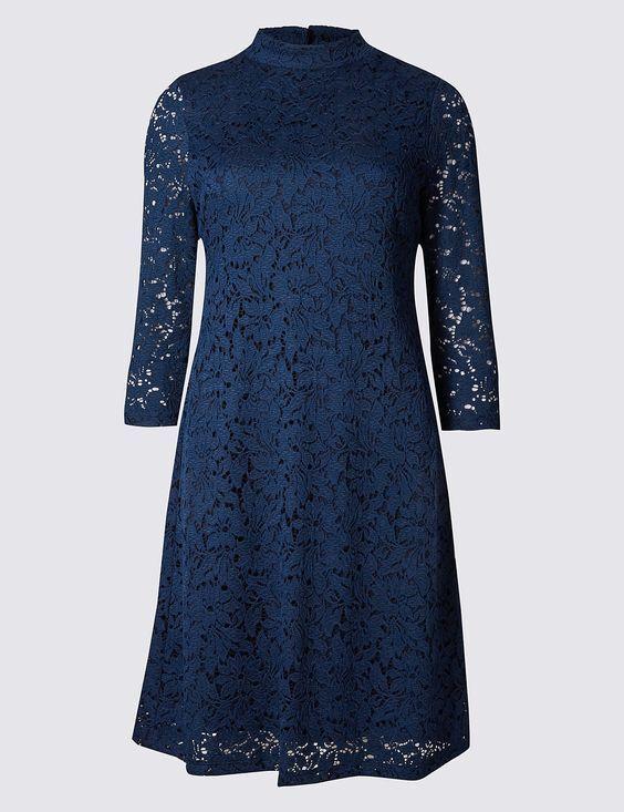 New M&S Per Una Navy bluee Lace 3 4 Sleeve Swing Dress Sz