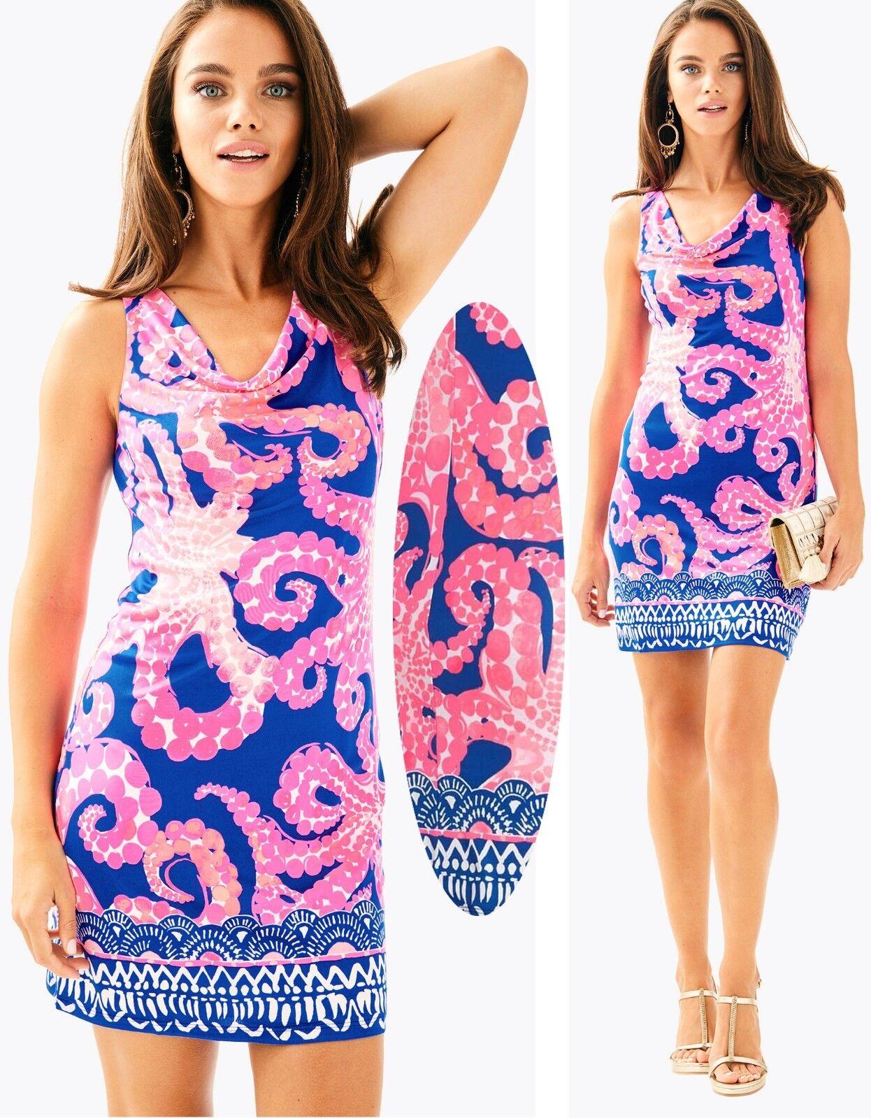 228 Lilly Pulitzer Kyra Ikat  Azul Vestido De Jersey De Seda Mocean diseñado  contador genuino