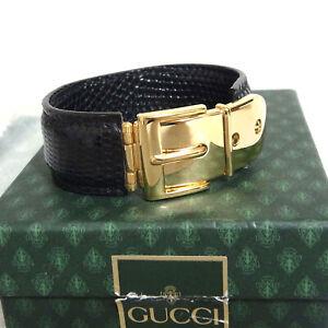 e3cb05ab2c1ec Auth GUCCI Belt Buckle Bangle Bracelet Navy Embossed Leather 16.5cm ...