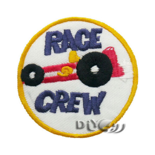 Grey RACE CREW Racing Patch Embroidered Sew on Iron on Patch Badge Applique DIY