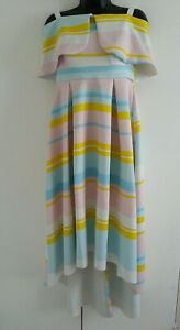 new photos super specials for whole family ASOS Tall Bardot cold shoulder Dip Back Pastel Stripe Prom Dress ...