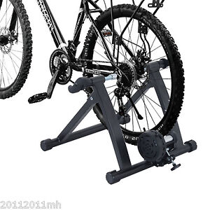 Folding Indoor Magnetic Bike Trainer Stand Bicycle Exercise Workout Steel Black