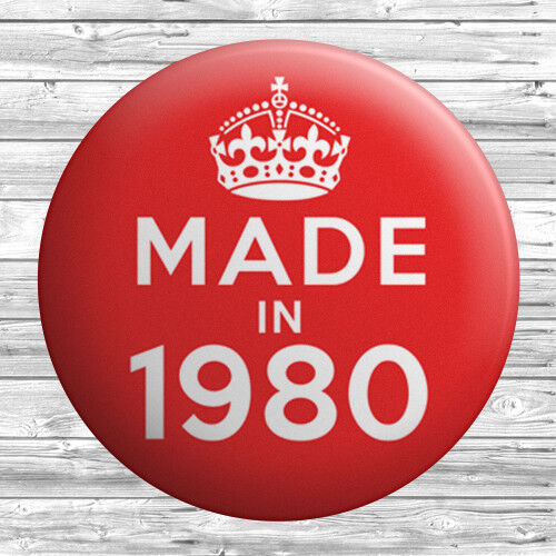 25mm Year 39th Birthday in 2018 Gift Red Made In 1980 Button Badge 1 inch