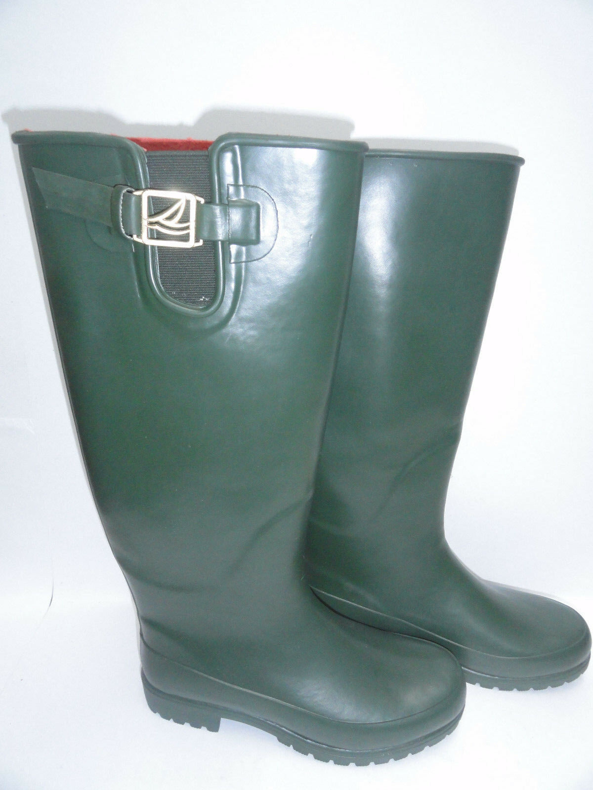Donna Sperry Top-Sider Pelican Too Waterproof Rubber Stivali Olive Green/Nero