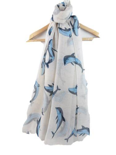 Whale imprimé foulard Mignon Baleine Poisson Femmes FASHION FESTIVE châle Wrap Bleu Blanc