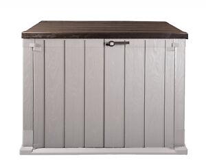 Mülltonnenbox Storer Plus XL 1330 L grau-braun Garten Gerätebox abschließbar NEU