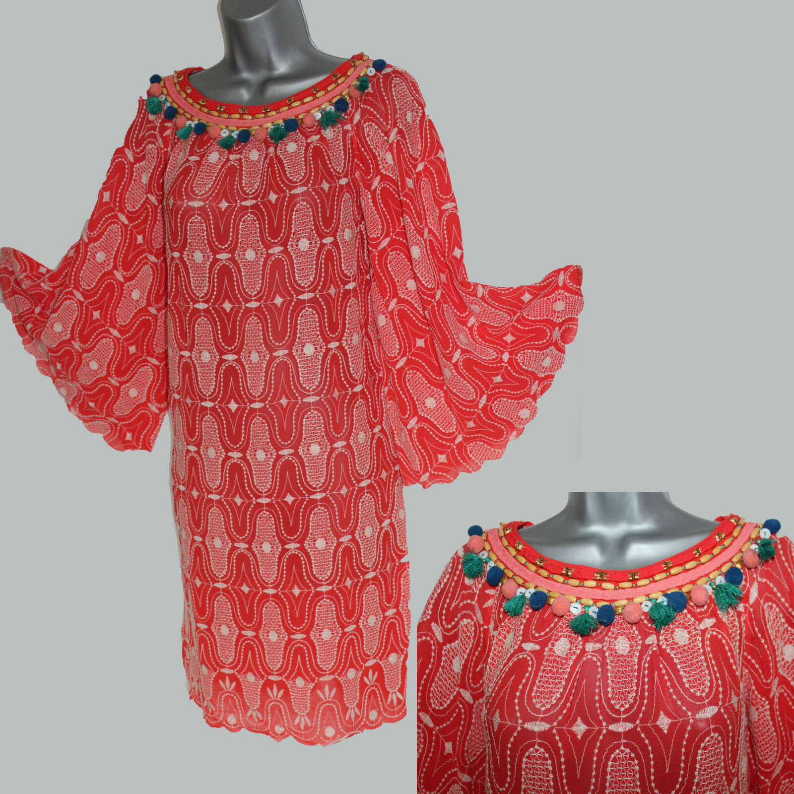 MONSOON Rosso Ricamato Impreziosito Manica Kimono Abito Tunica M casual formale
