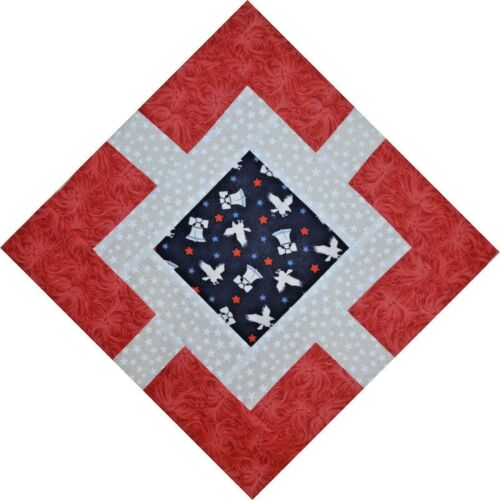 """White and Blue,12/""""HANDMADE IN USA-0113C QUILT BLOCKS-Garden Path-Red"""