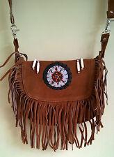 Native Western Style Suede Leather Beaded Shoulder Bag Fringed Brown