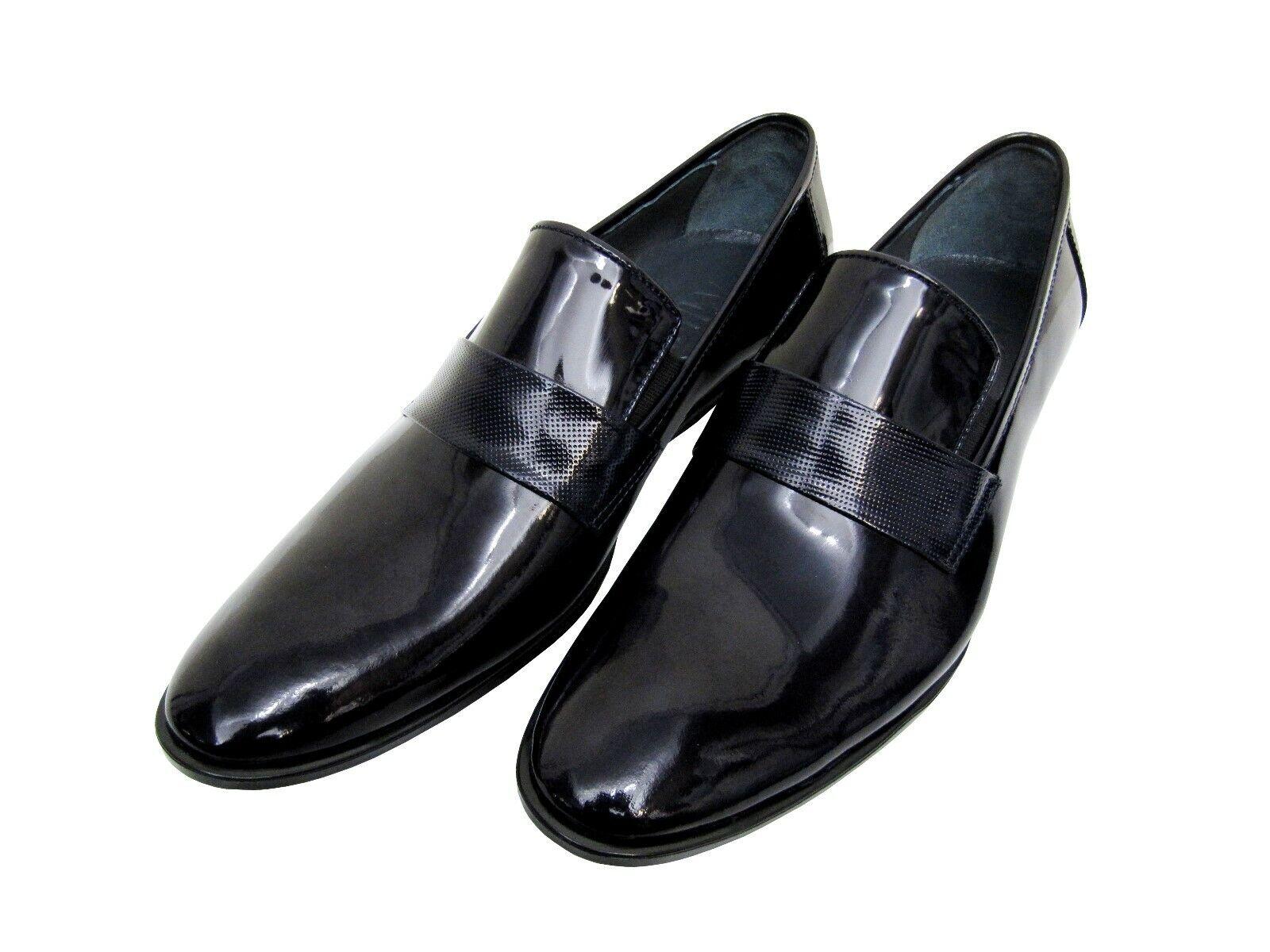 Herren Schuhe Slipper Echtleder Gr.45 blau glänzend