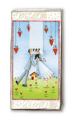 Wedding Hankies Lovers Forever Marriage Bride Paper Handbag Pocket Tissues NEW