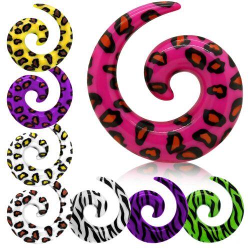 Dehnspirale Dehnung leopard zebra 3 4 5 6  8 10 mm  Dehner Dehnstab Set Tunnel