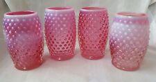 Four (4) Fenton Glass Hobnail Cranberry Red Opalescent Barrel Tumblers Lot #2