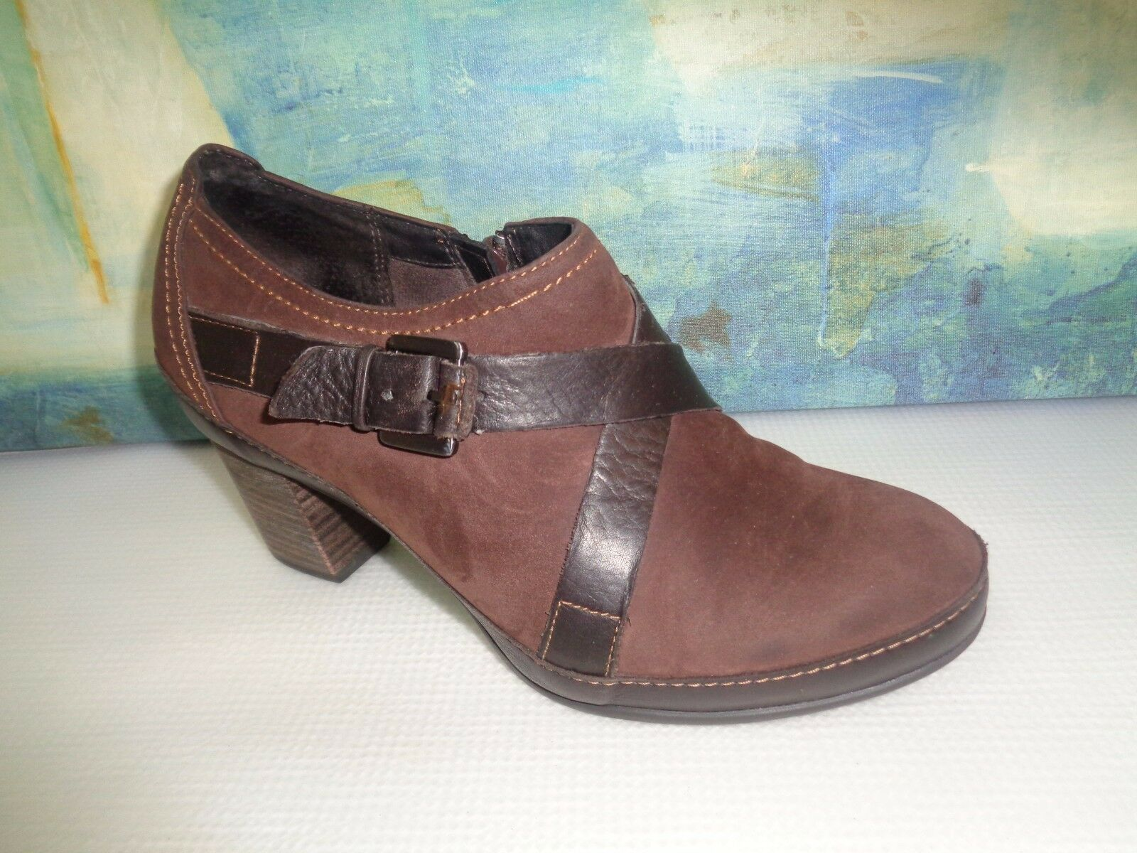 Clarks Artisan Rustic Brown Double Buckle Slip on Active Air Mules Womens 7M