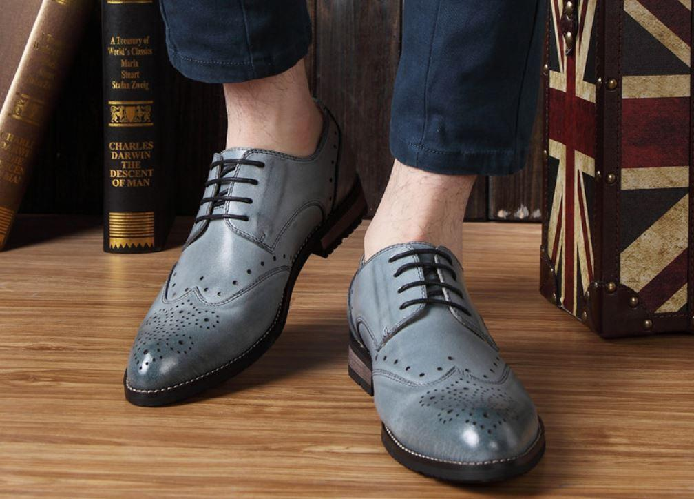 5 colors  Uomo oxford brogue wing tip lace up leather casual dress formal Scarpe