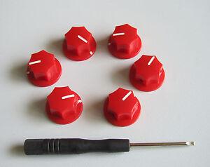 6x guitar 1 4 mini mxr style amp knobs effect pedal knob w set red ebay. Black Bedroom Furniture Sets. Home Design Ideas